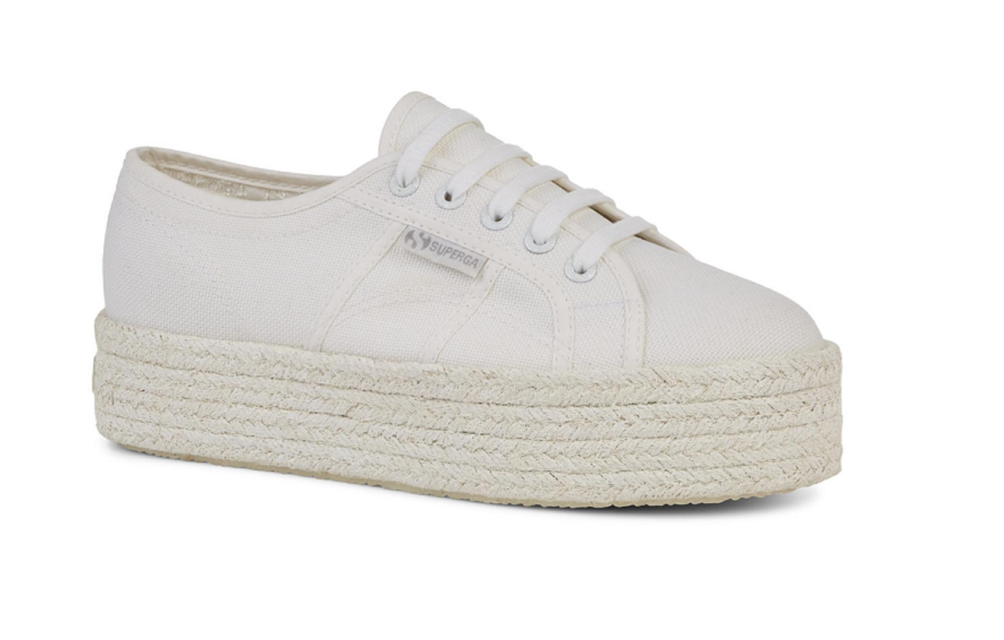 SUPERGA C4Z0 total white bianco scarpe donna sneakers platform lacci