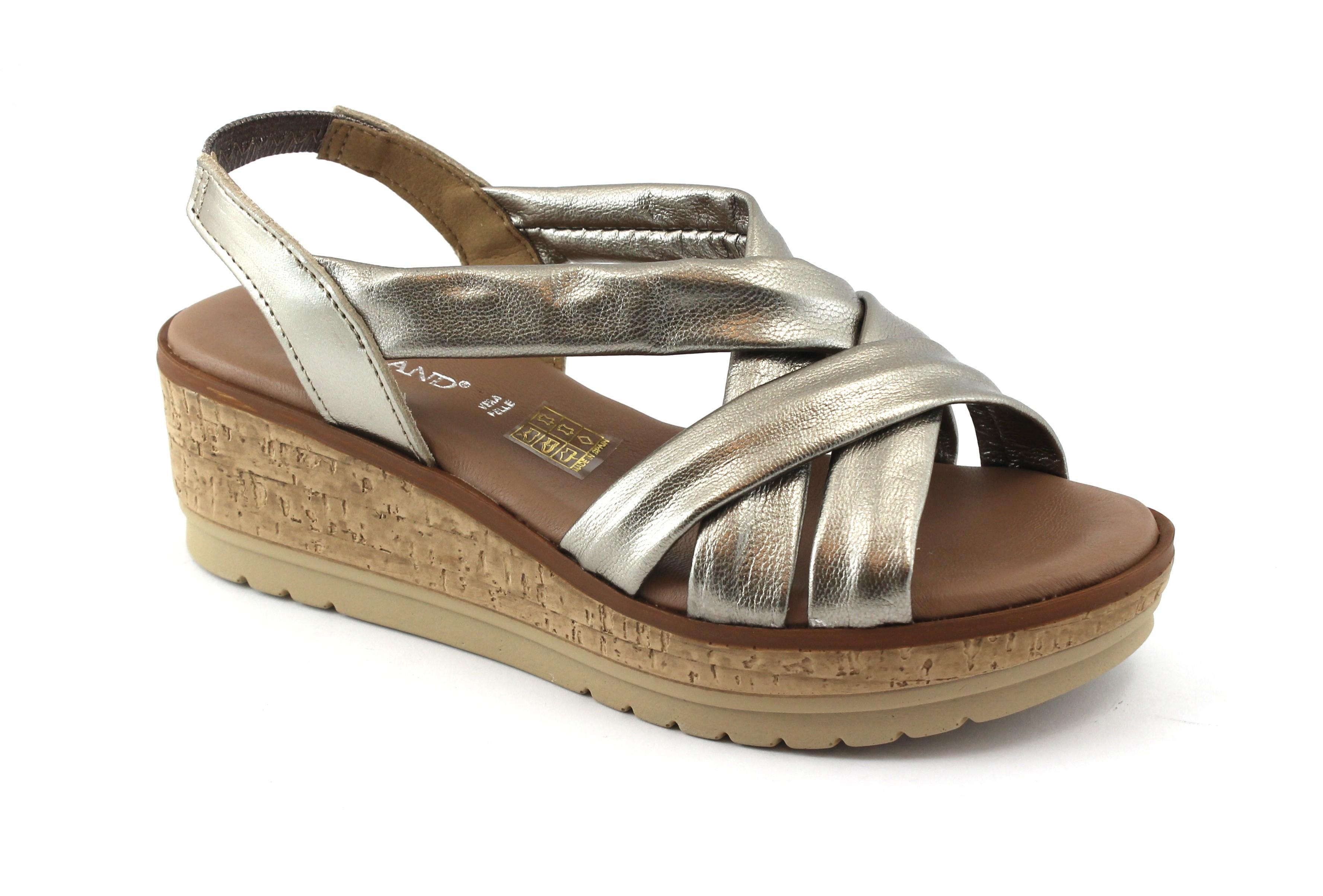 GRUNLAND COCO SA1703 peltro sandali donna pelle zeppa elastico