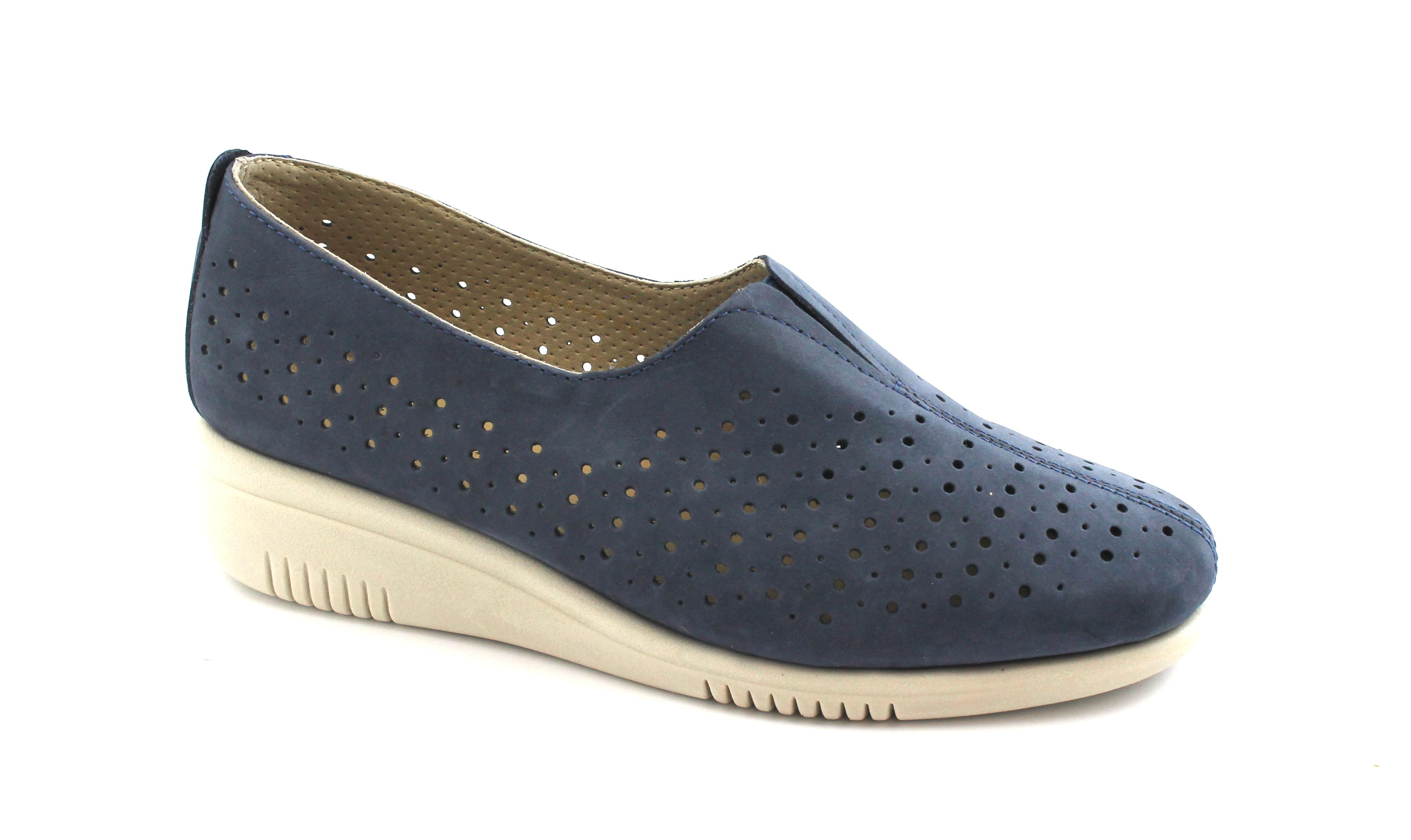 GRUNLAND-SIRA-SC3763-blu-scarpe-donna-zeppetta-elastico-forata