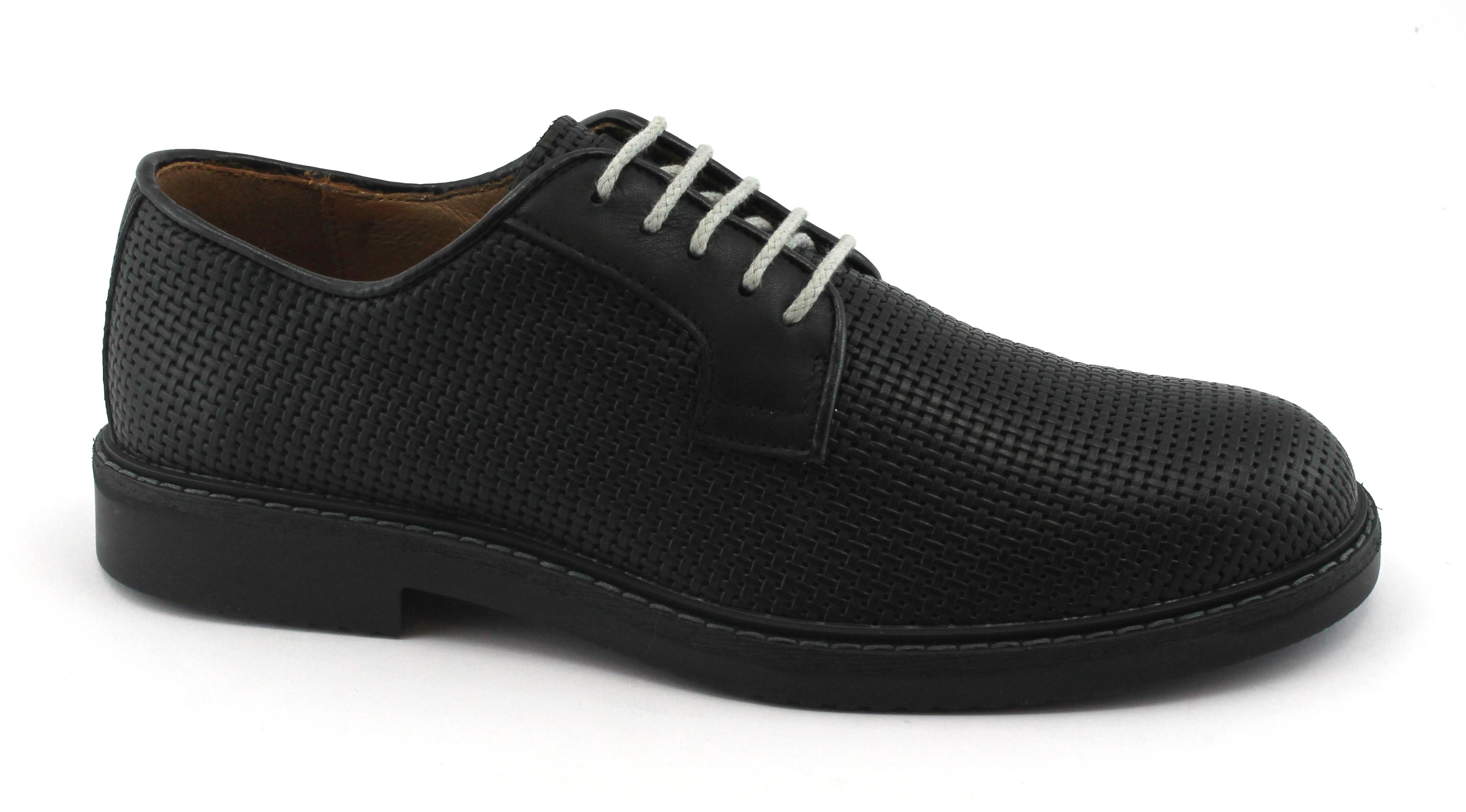 IGI&CO 1105177 nero scarpe uomo derby sportive eleganti pelle intrecciata Scarpe classiche da uomo