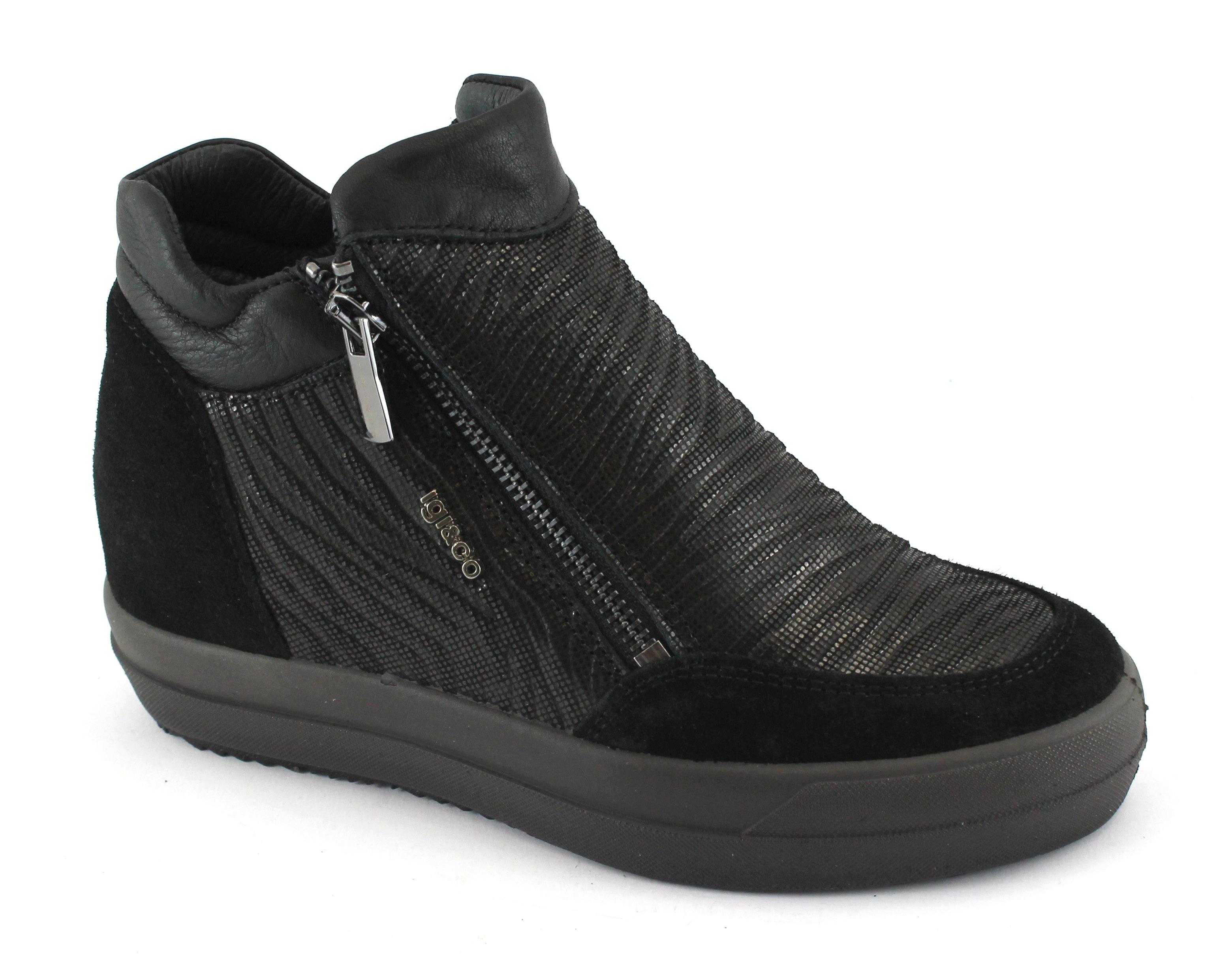 IGI&CO 87751 nero da scarpe donna  scarpe da nero ginnastica zeppa interna doppia zip 8d2d3d