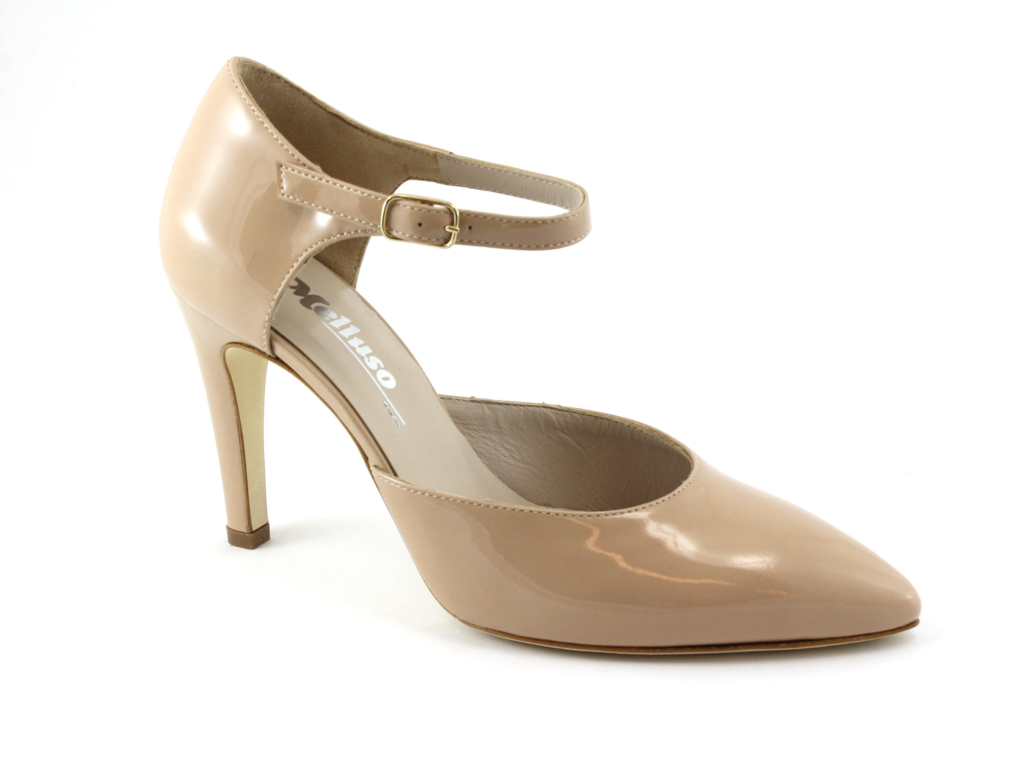 MELLUSO E1607 nude carne scarpe vernice donna decolletè cinturino punta vernice scarpe 6fc7f5