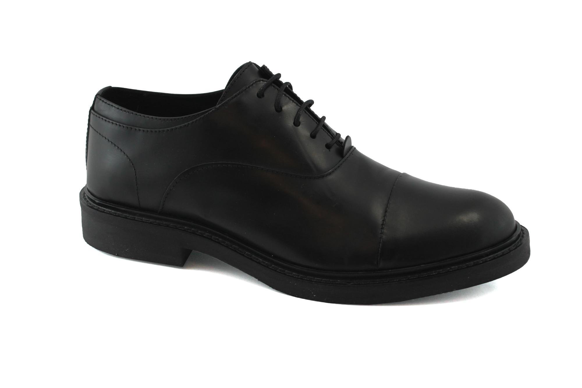 CAFè NOIR PF125 nero scarpe uomo eleganti  puntale pelle lacci