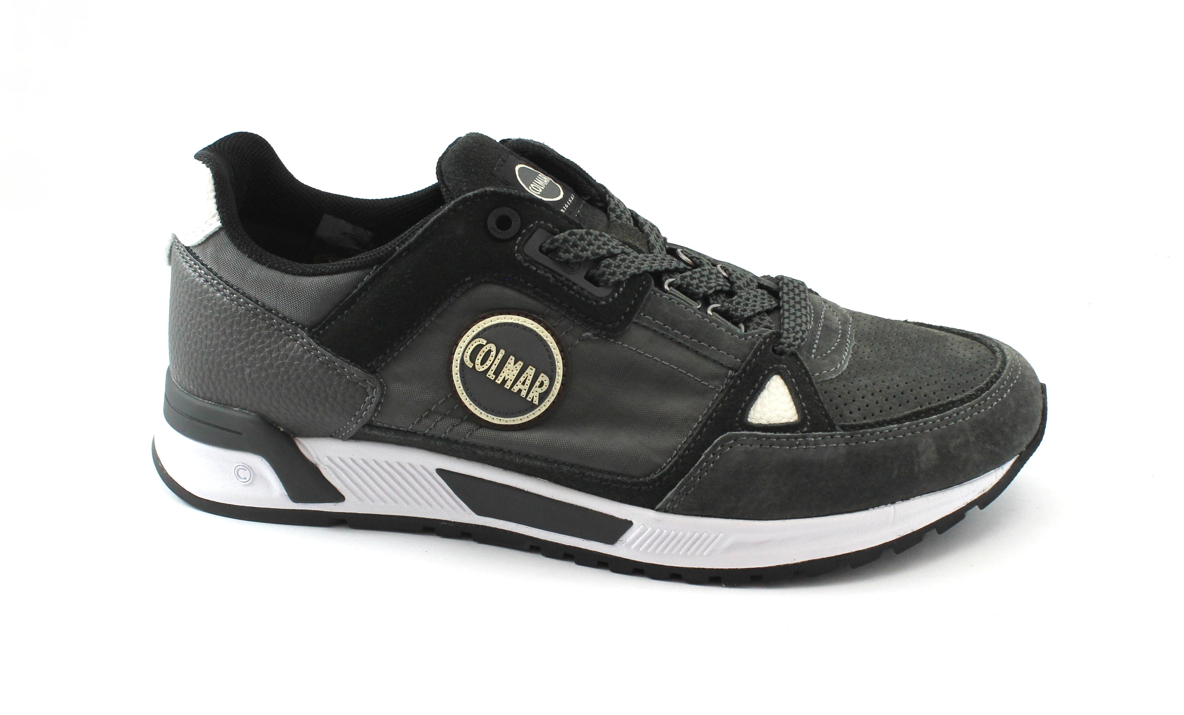 COLMAR uomo TRAVIS SUPREME GRAY scarpe uomo COLMAR pelle sneakers lacci grigio e87c96