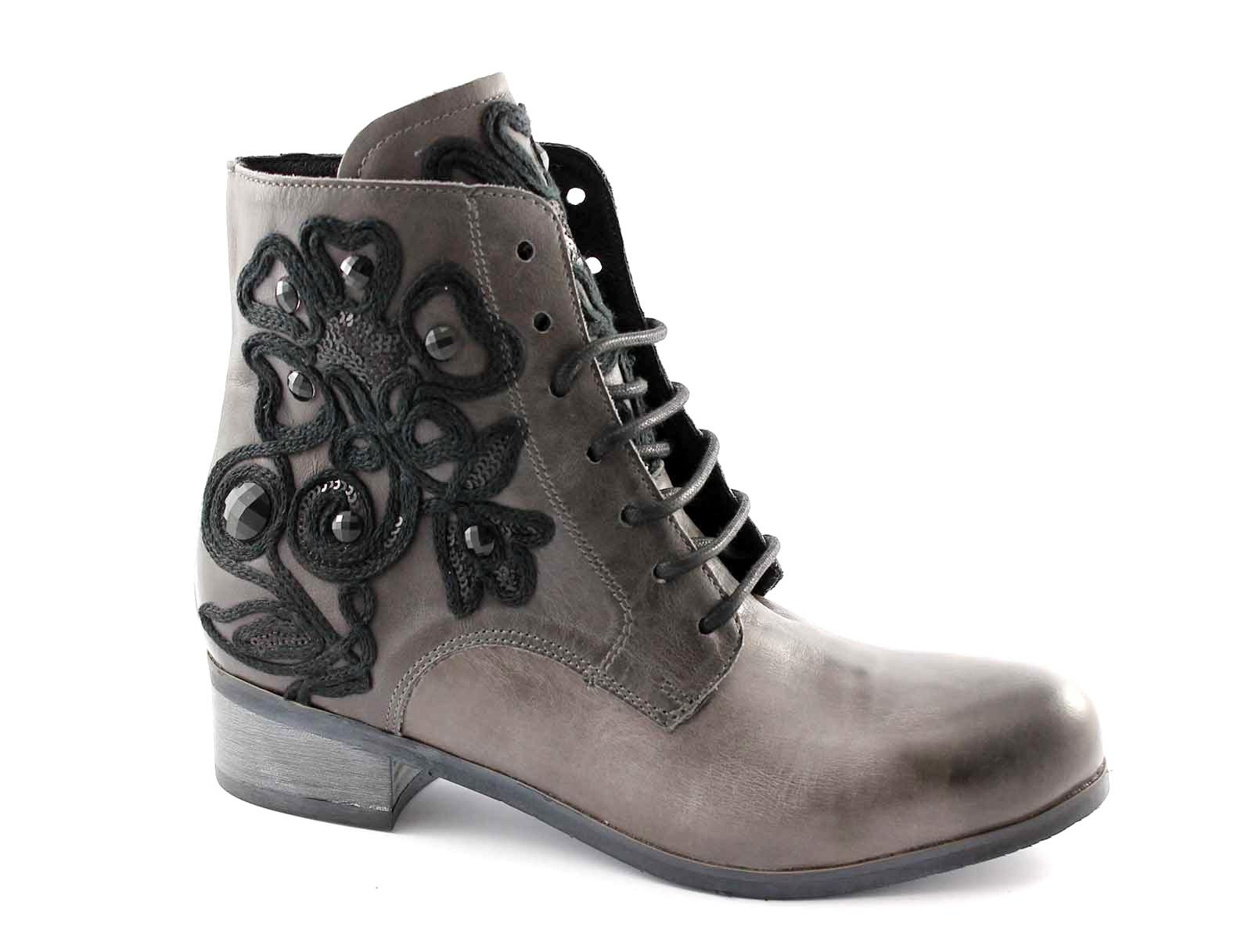 JHON GRACE 3577X38 grigio scarpe zip donna stivaletti tronchetti laccio zip scarpe a86a54