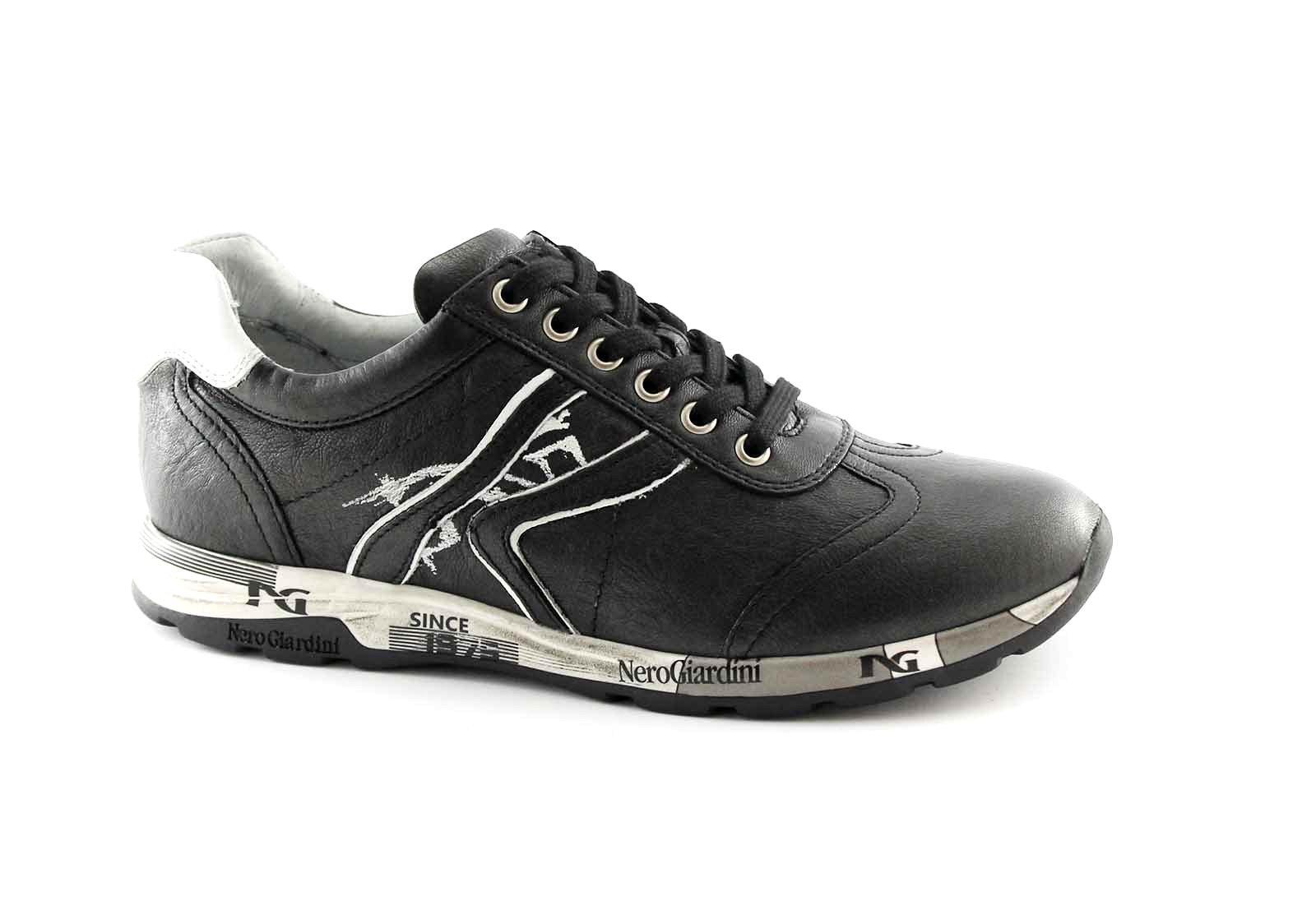 NERO GIARDINI 16190 nero bianco scarpe donna sportive lacci sneaker casual