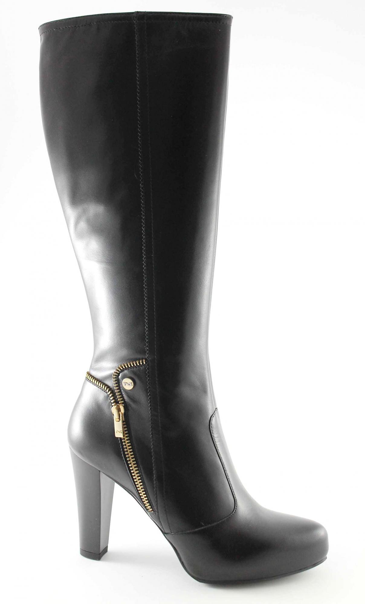 NERO GIARDINI 16305 nero stivali donna tacco plateaux cerniera