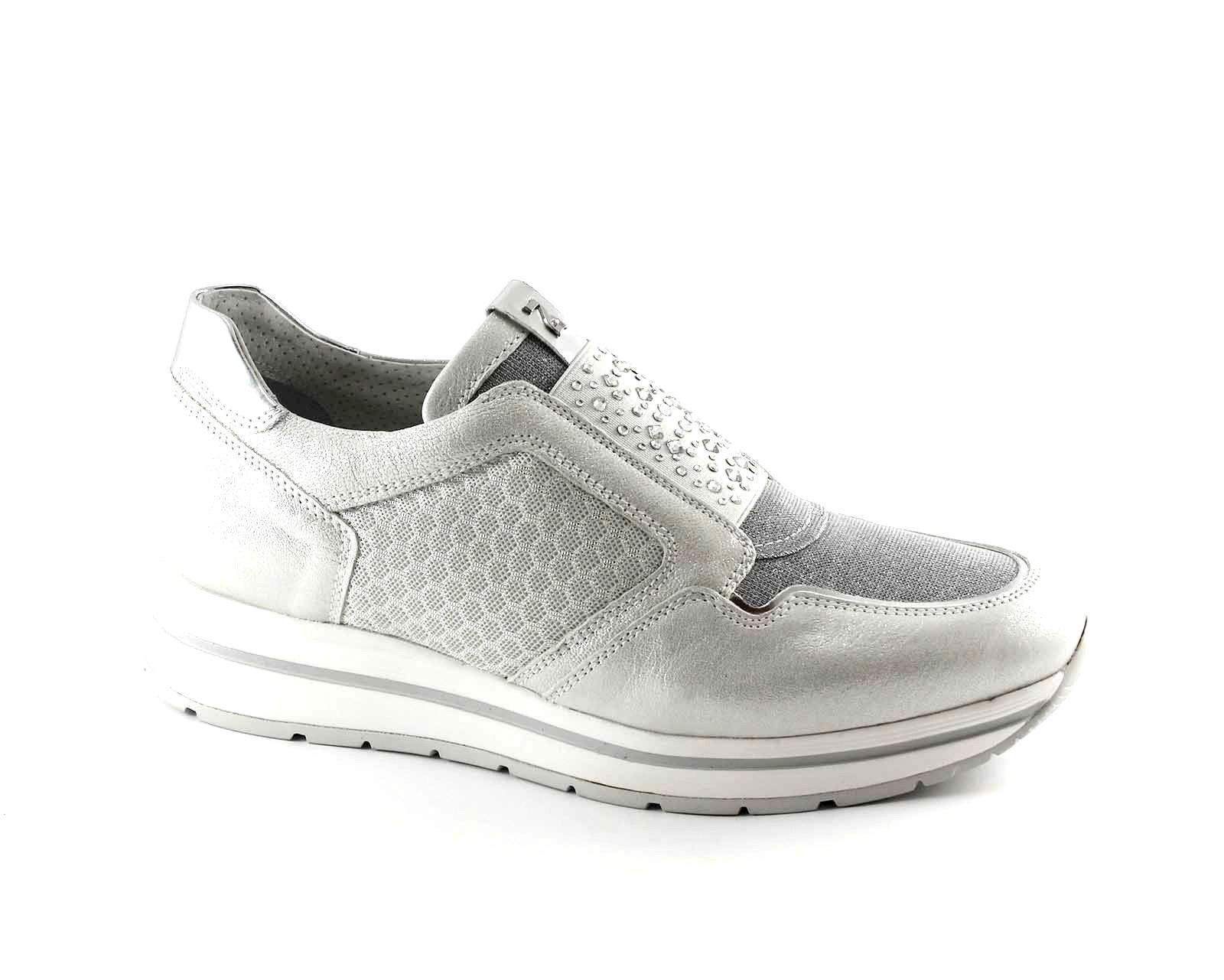 NERO GIARDINI 17231 argento scarpe donna sportive scarpe da ginnastica slip on elastico