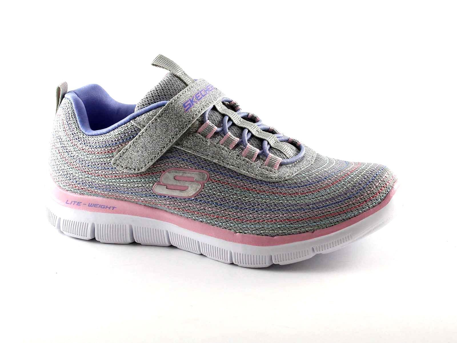 SKECHERS-81658L-gray-multi-grigio-scarpe-bambina-elastico-strappo-brillantini-me
