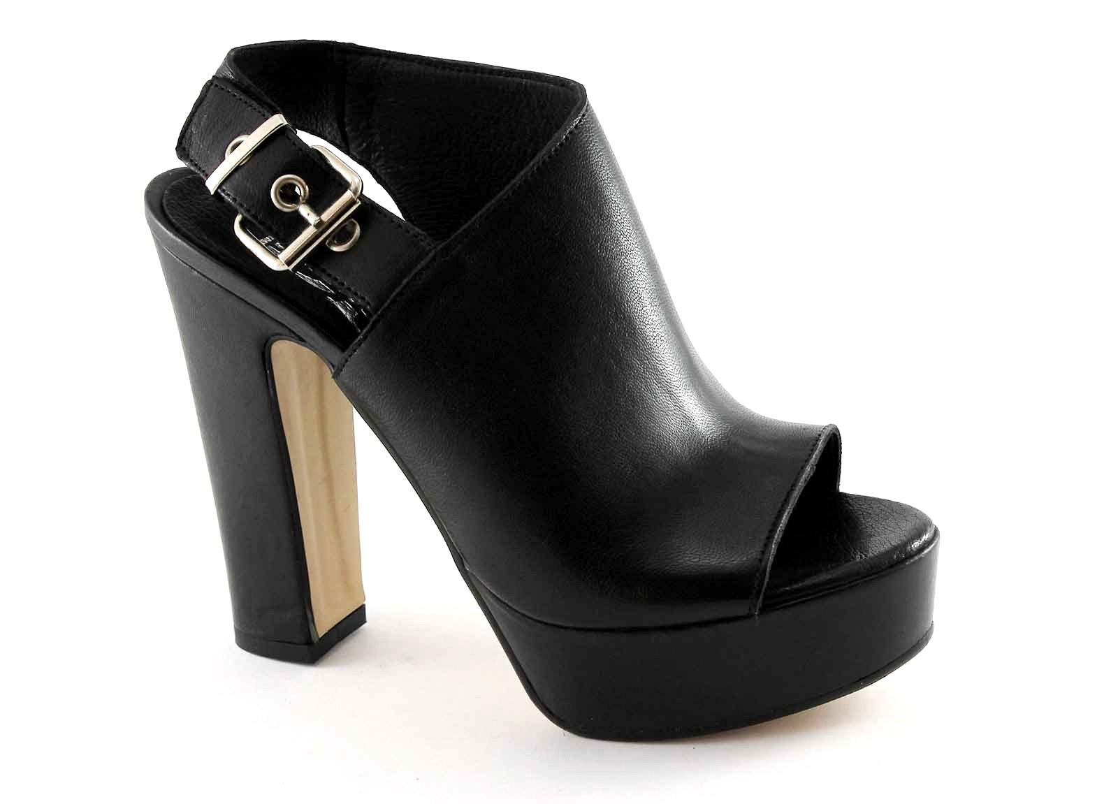 DIVINE FOLLIE 908 nero sandali donna tronchetti tacco plateaux fibbia