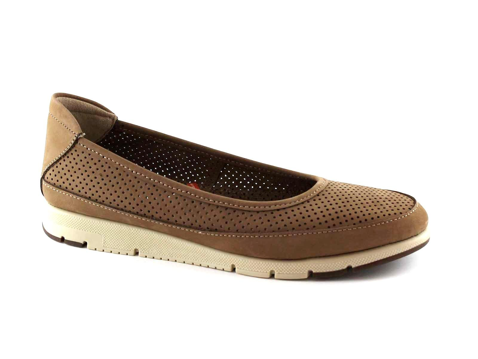 FRAU FX 51G2 taupe marrone scarpe donna ballerine pelle fori linea comfort