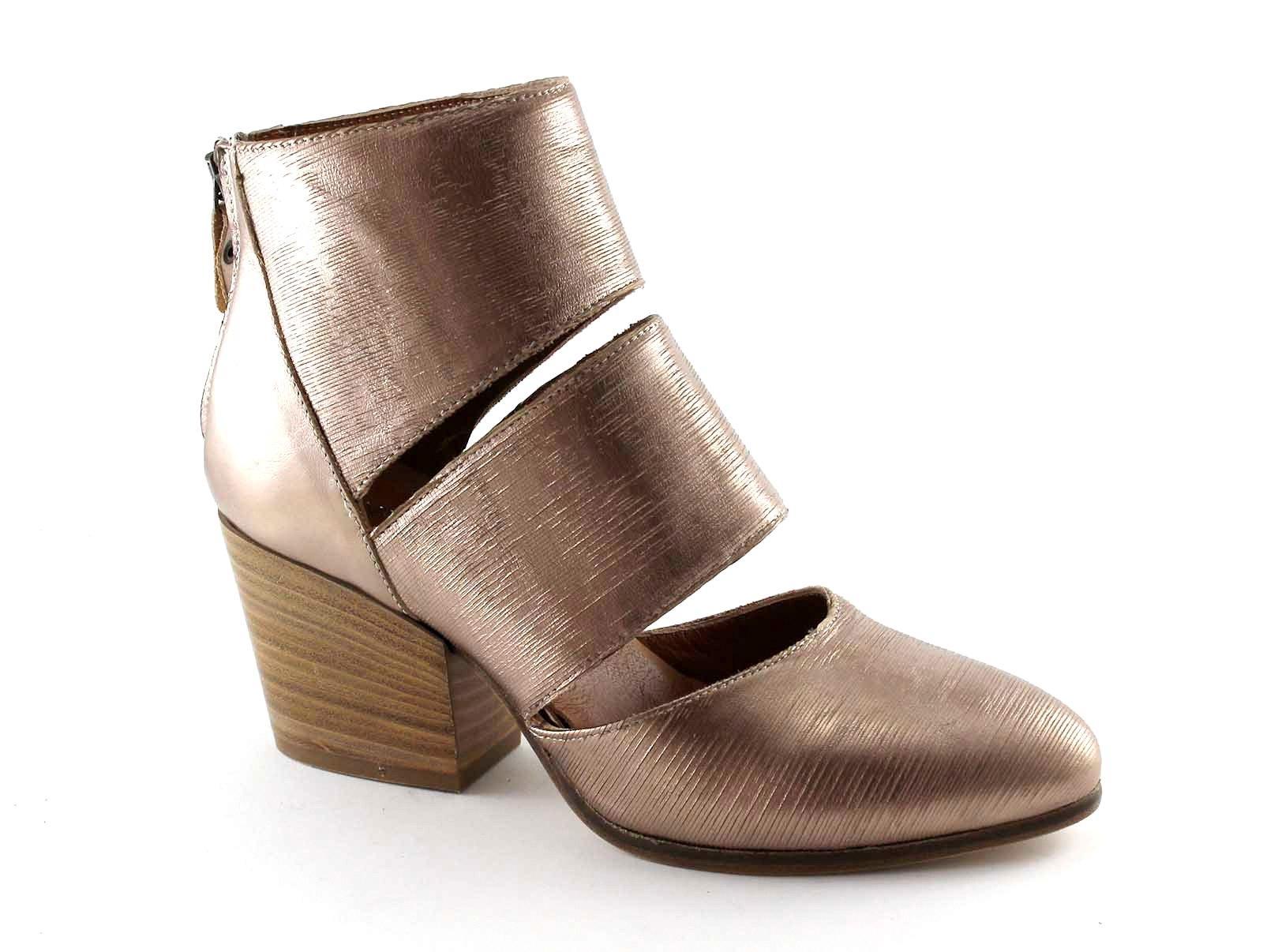 PAOLINA PEREZ 1834 cannella bronzo scarpe stivaletti donna tacco cerniera