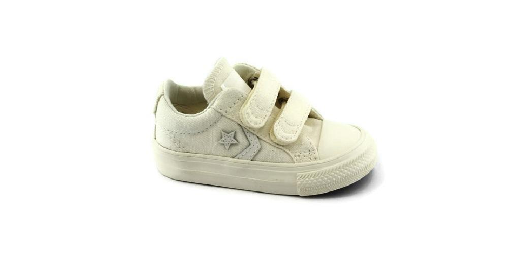 CONVERSE 760031C star player egret bianco scarpe bambina unisex strappi