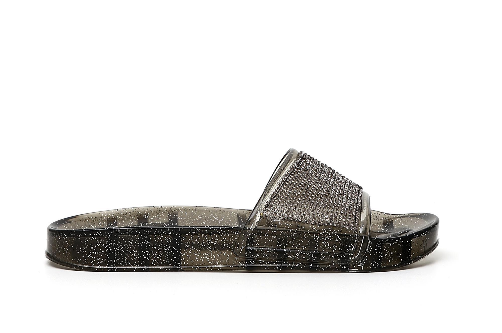 Caf Noir FE920 scarpa ciabatta donna con strass nero