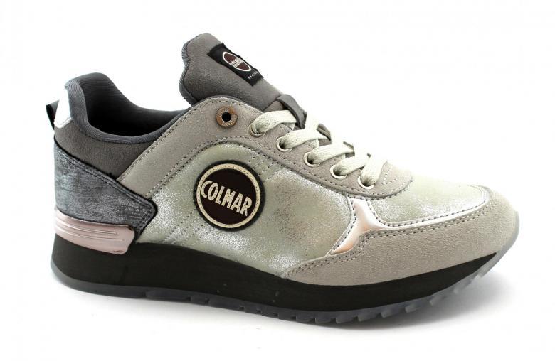 COLMAR TRAVIS JANE white gray scarpe donna sneakers lacci pelle glitter | eBay