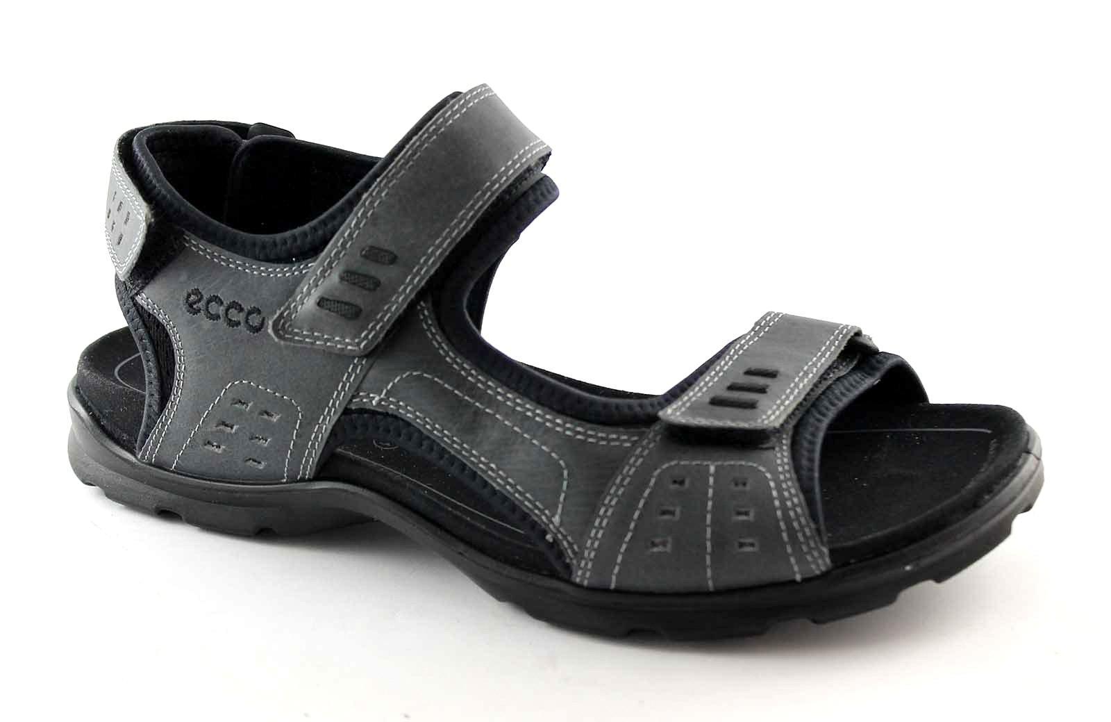 ECCO 834114 UTAH grigio sandalo uomo fasce strappi pelle